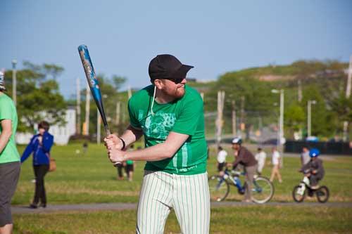 swing battah swing! ELG team organizer Brendan Dunlop