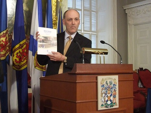 Graham Steele displays budget at Province House